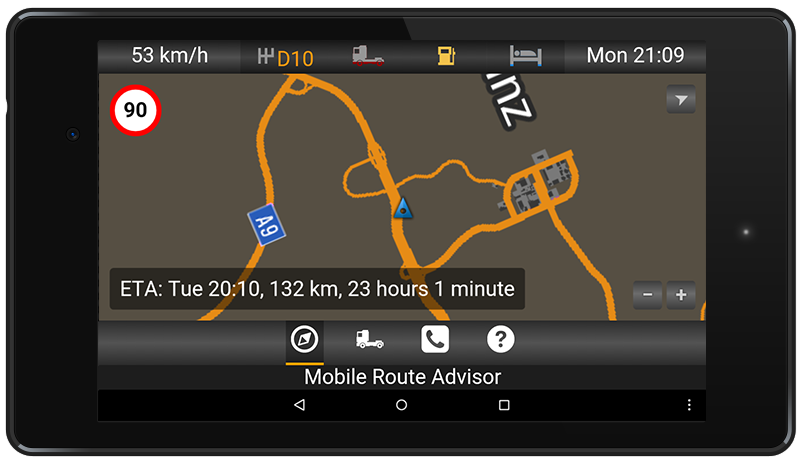 Screenshot of Mobile Route Advisor